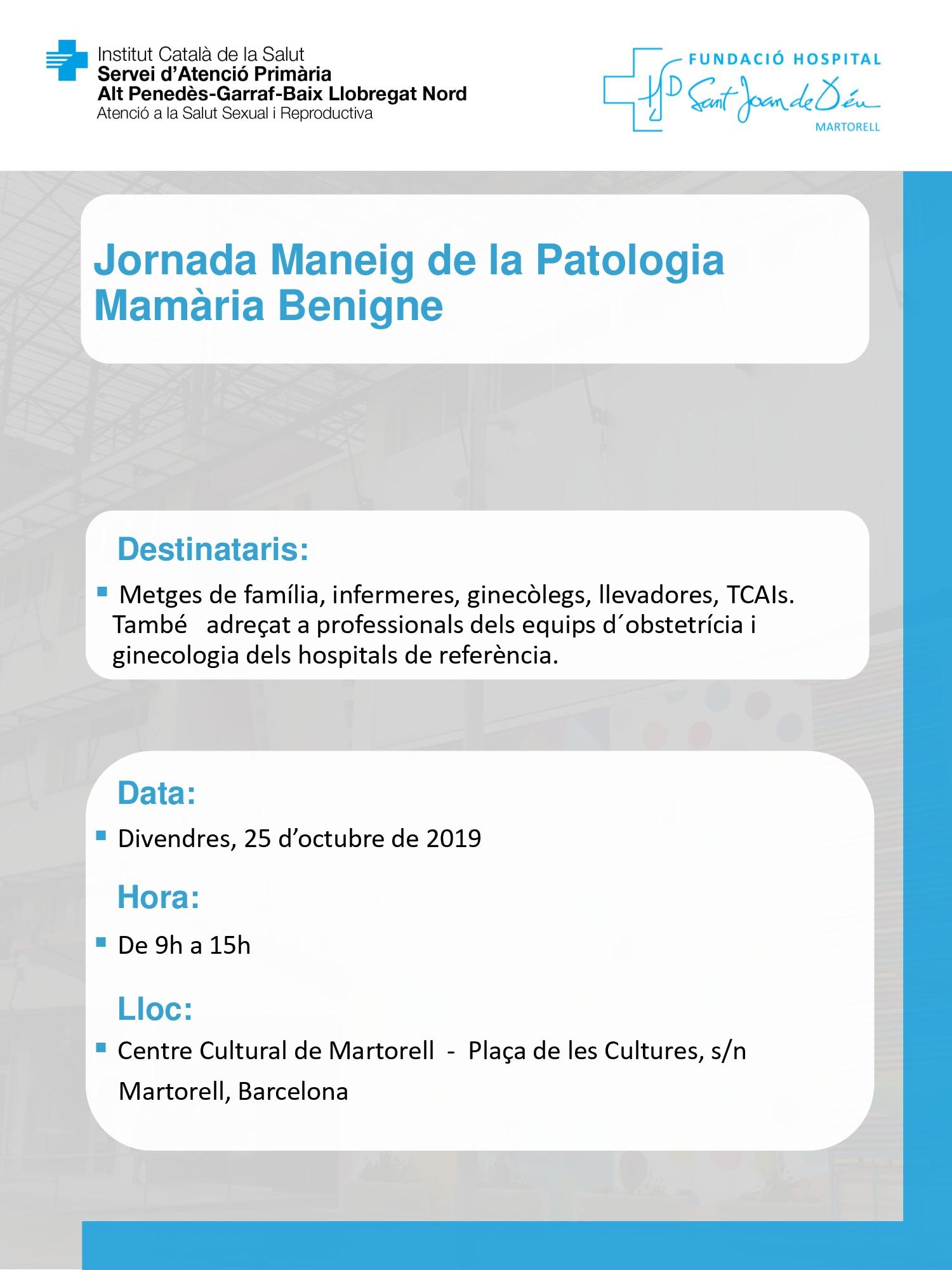 Jornada Maneig Patologia Mamària Benigne
