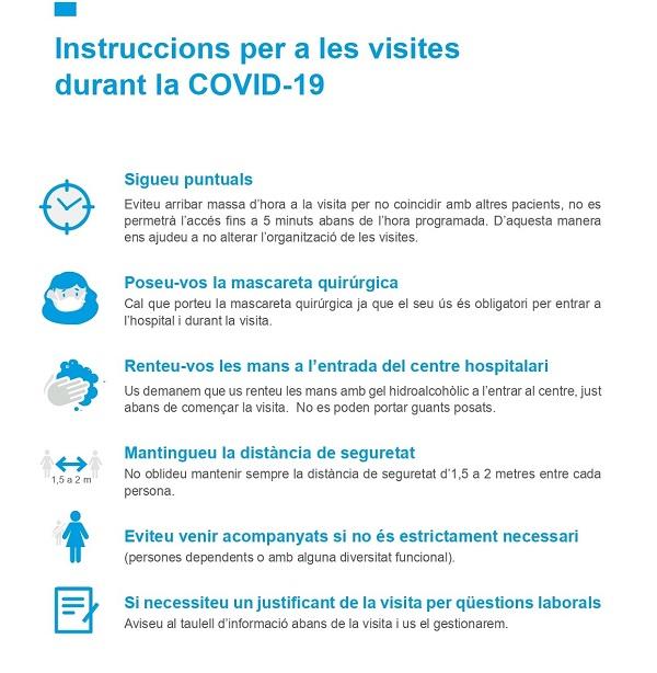 Instruccions per a les visites durant la COVID19 FHSJDM