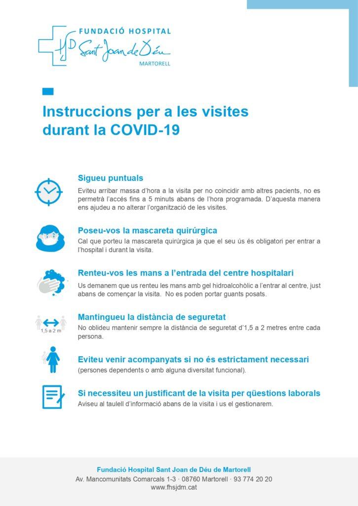 Instruccions per a les visites durant la COVID19
