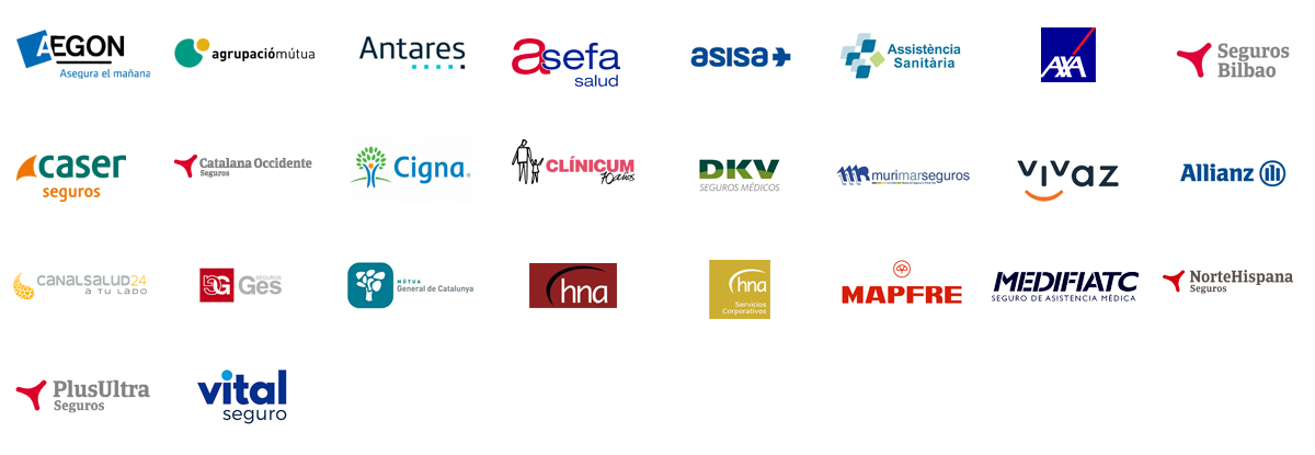 Logotips de les Mútues privades concertades de la Fundació Hospital Sant Joan de Déu de Martorell
